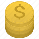 american, coin, dollar, money, stack, usd icon