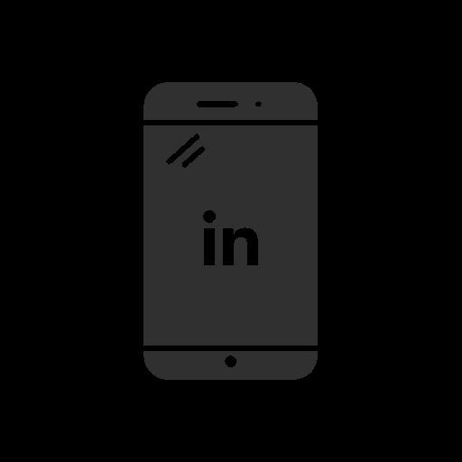 linkedin logo, logo, mobile, phone icon