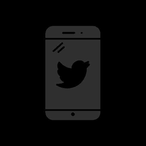 phone, twitter, twitter logo, twitter on phone icon