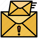 email, envelope, mail, mails, message, multimedia, urgent icon