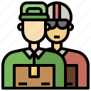 and, delivery, officer, organization, postal, shipping icon