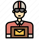 and, jobs, occupation, people, postman, profession, professions icon