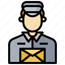 mail, mailing, office, people, post, postcards, postman icon