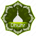 dhuhr, english, islam, muslim, muslims worship, pray, prayer, the five daily prayers icon