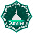 english, islam, muslim, muslims worship, pray, prayer, sunrise, the five daily prayers icon