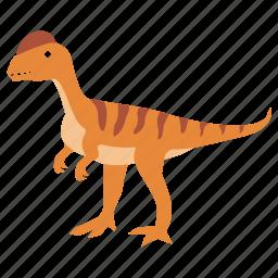 carnivore, crested, dilophosaurus, dinosaur, jurassic icon