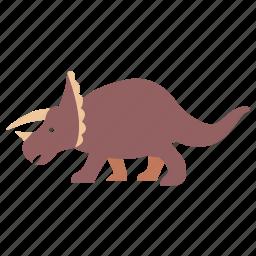 cretaceous, dinosaur, herbivorous, horned, jurassic, triceratops icon