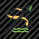 fishing, life, prehistoric, spear icon