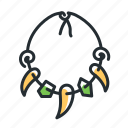 necklace, prehistoric, primitive, tooth icon