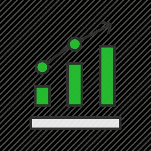 bar graph, data analysis, growth, marketing icon