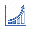 arrow, bar graph, chart, exponential growth icon