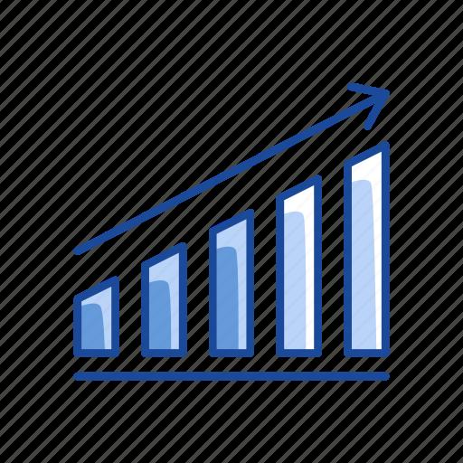 arrow, bar graph, chart, sales icon