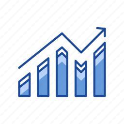arrow, bar graph, chart, sales, statistic icon