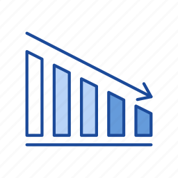 arrow, bar graph, chart, sales icon