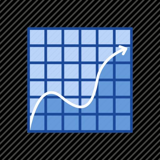 arrow, bar chart, data analysis, line graph icon
