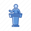 conference, platform, pulpit, speech icon