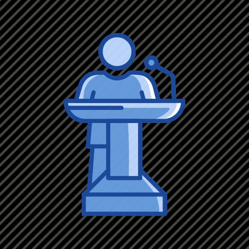 conference, male, podium, speech icon