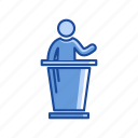 male, male speaker, platform, speech icon
