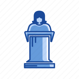 conference, female speaker, podium, speech icon
