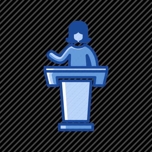 conference, female, female speaker, platform icon