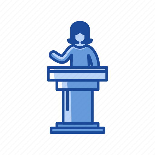 conference, female speaker, podium, speech icon