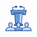 audience, conference, platform, podium icon