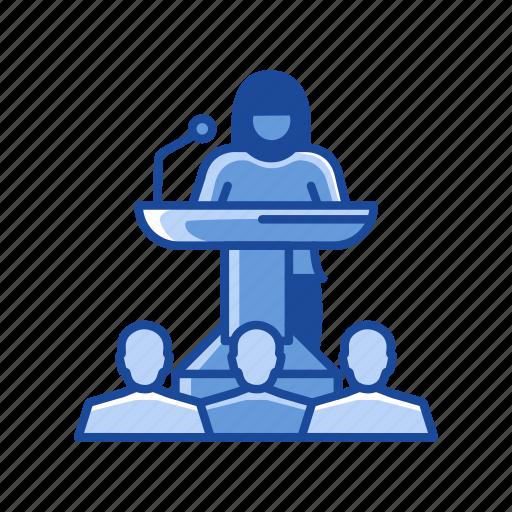 audience, conference, female speaker, podium icon