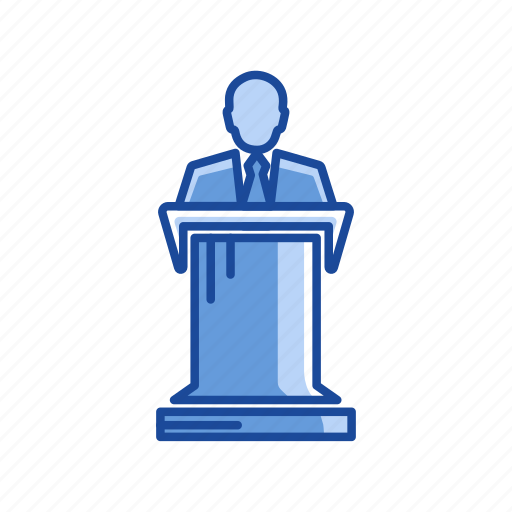 conference, female speaker, present, speech icon
