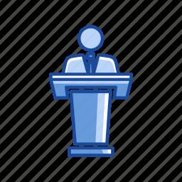 male, male speaker, platform, speech icon