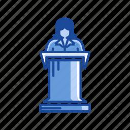 conference, female speaker, platform, speech icon