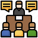meeting, focus, group, trading, sitting, communications