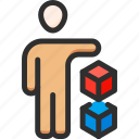 business, conference, cube, man, presentation, presenter, speech icon
