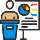 business, conference, man, presentation, presenter, speech, stats icon