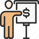 business, conference, man, money, presentation, presenter, speech icon