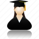 account, education, female, girl, graduate, lady, learning, people, profile, school, student, study, training, user, users, woman icon
