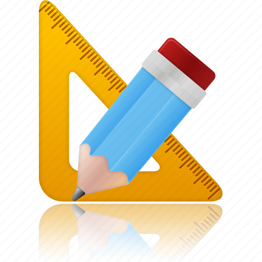 education, learning, math, pencil, ruler, school, study, tool, tools, training icon