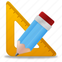 edit, education, learning, pencil, ruler, school, study, tool, tools, training icon