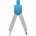 compasses, education, learning, math, school, study, tool, tools, training icon