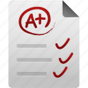 a+, document, file, mark, paper, record, records, test icon