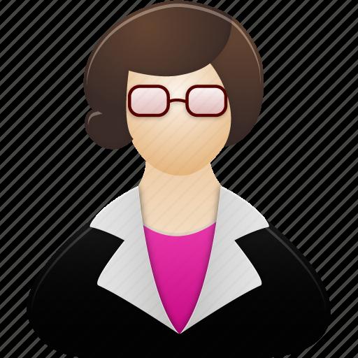 account, education, female, lady, people, profile, school, teacher, training, user, users, woman icon