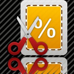 coupon, cut, label, price, scissor, scissors, tag, trade icon