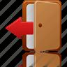 close, delete, door, exit, log out, logout, remove icon