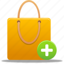add, bag, business, buy, cart, ecommerce, item, plus, shopping, shoppingbag, webshop icon