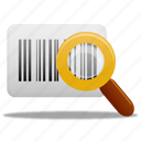 barcode, search, magnifying glass, zoom, find, view