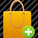 add, business, buy, cart, ecommerce, item, plus, shopping, shoppingbag, webshop icon