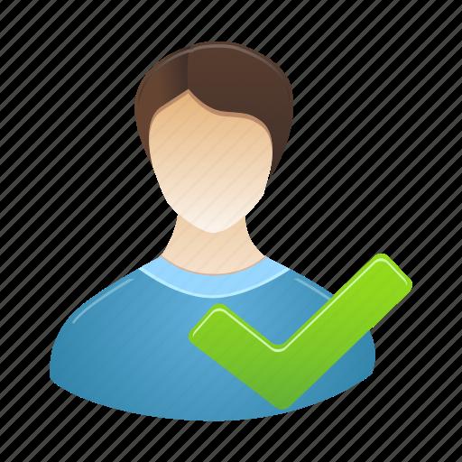 accept, account, male, people, person, profile, user icon