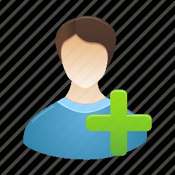 account, add, male, man, person, profile, user icon