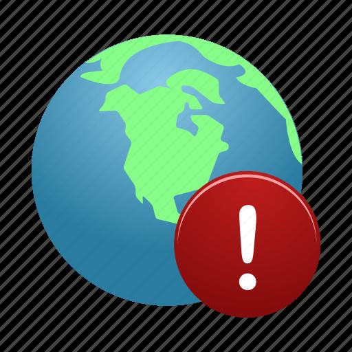 Globe, warning, earth, global, internet, world icon - Download on Iconfinder