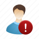 account, male, man, people, profile, user, warning icon