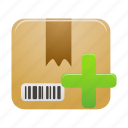 add, box, delivery, package, parcel, plus, shipping icon
